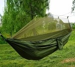 Tourist hammock with mosquito net - Olive