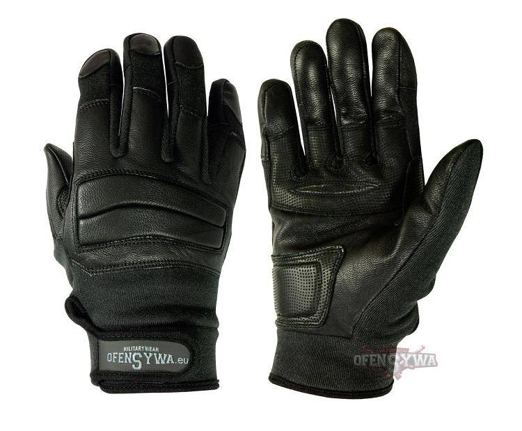 Leather tactical gloves RTK-black